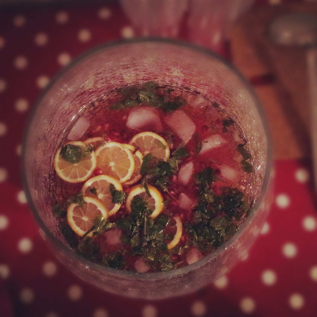 Champagne and pomegranate punch- recipe here! (Except I was cheap and used Cava instead...)