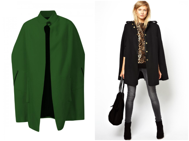 L: Green Cape from Geeks & Stitches, £193 R: MANGO Military Cape Coat from ASOS, £90