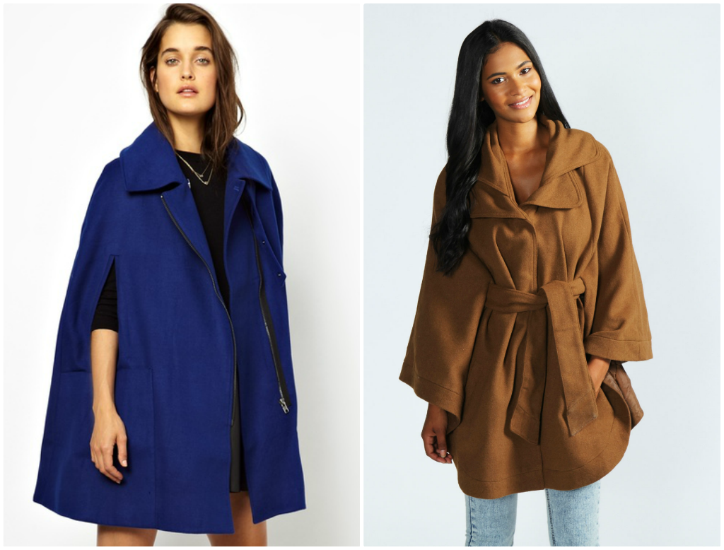 L: ASOS Biker Cape Coat, currently reduced to £52.50 R: Elissa Oversized Belted Cape from Boohoo, £25