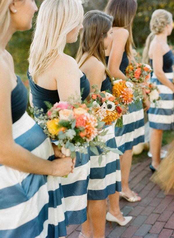Navy Striped Bridesmaid Dresses