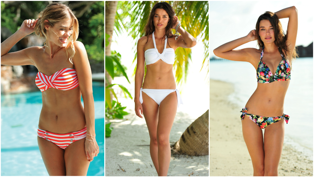 From L to R: Seafolly Seaview Coral, Seafolly Goddess White. Seafolly Summer Garden Black