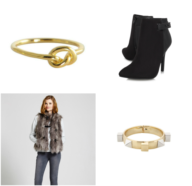 1. Knot ring; 2. Miss KG boots; 3. Whistles cuff; 4. Faux fur gilet