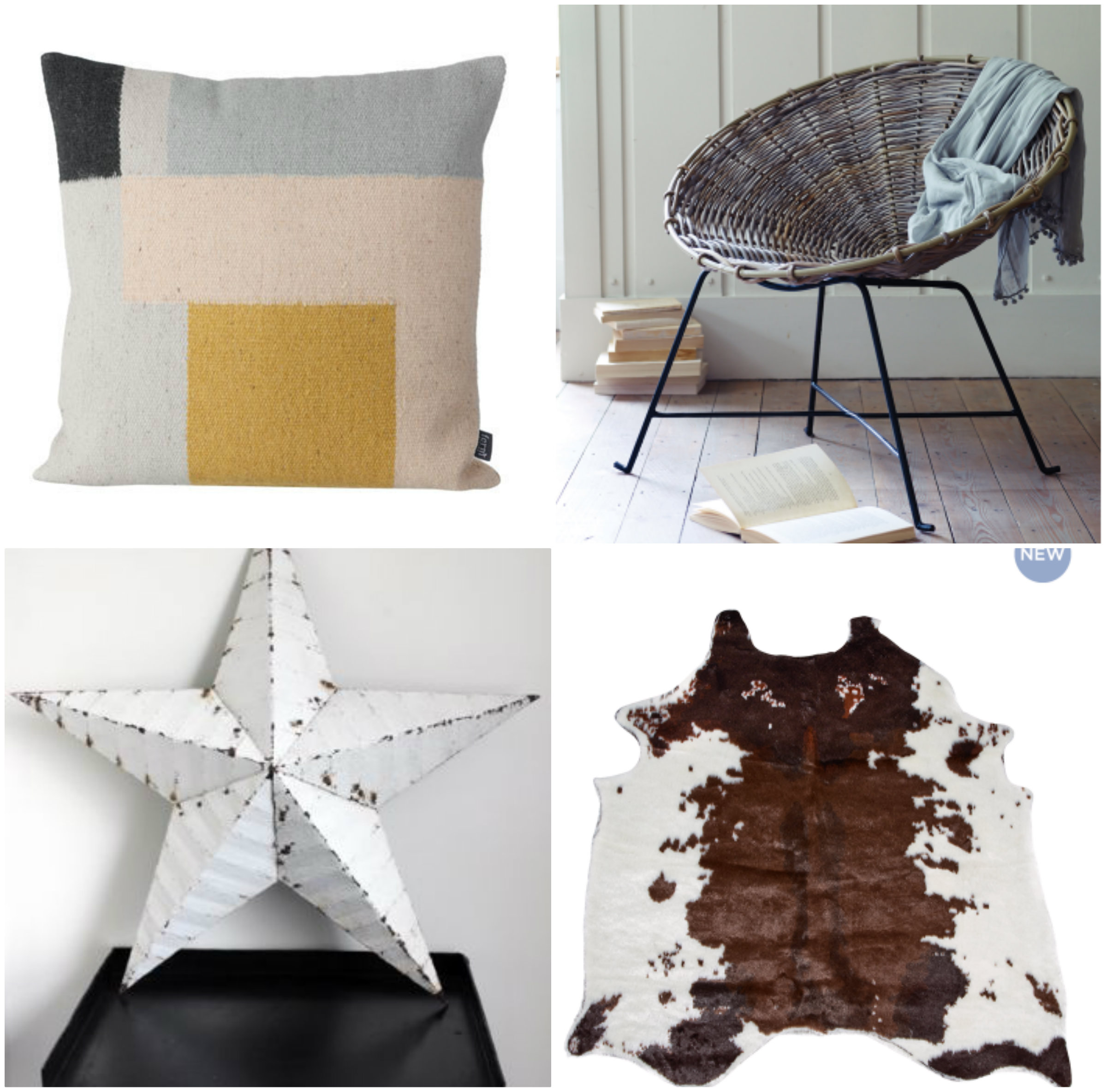 1. Cushion; 2. Wicker cone chair; 3. Faux cow hide; 4. Metal star
