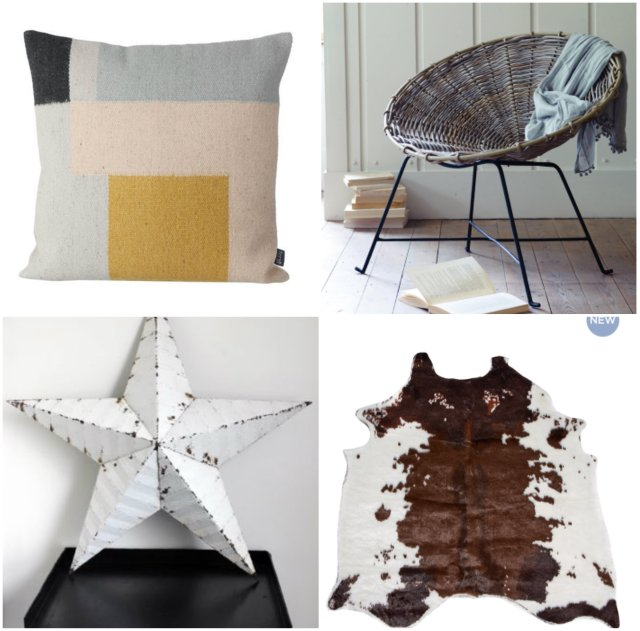 1. Cushion; 2. Wicker cone chair; 3. Faux cow hide; 4. Metal star