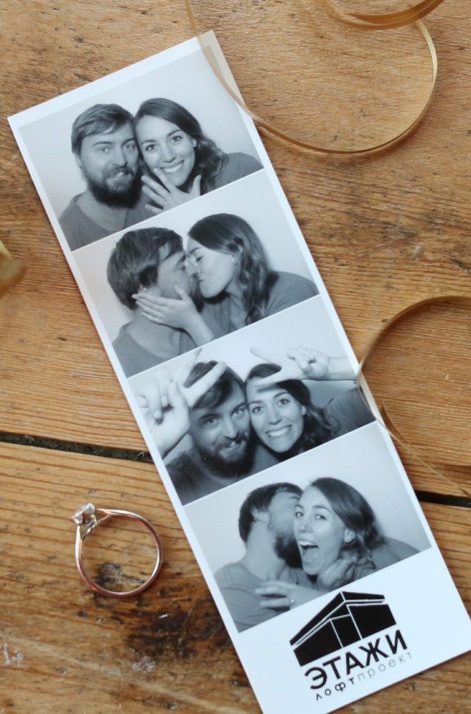 Post proposal, photo-ooth happiness.