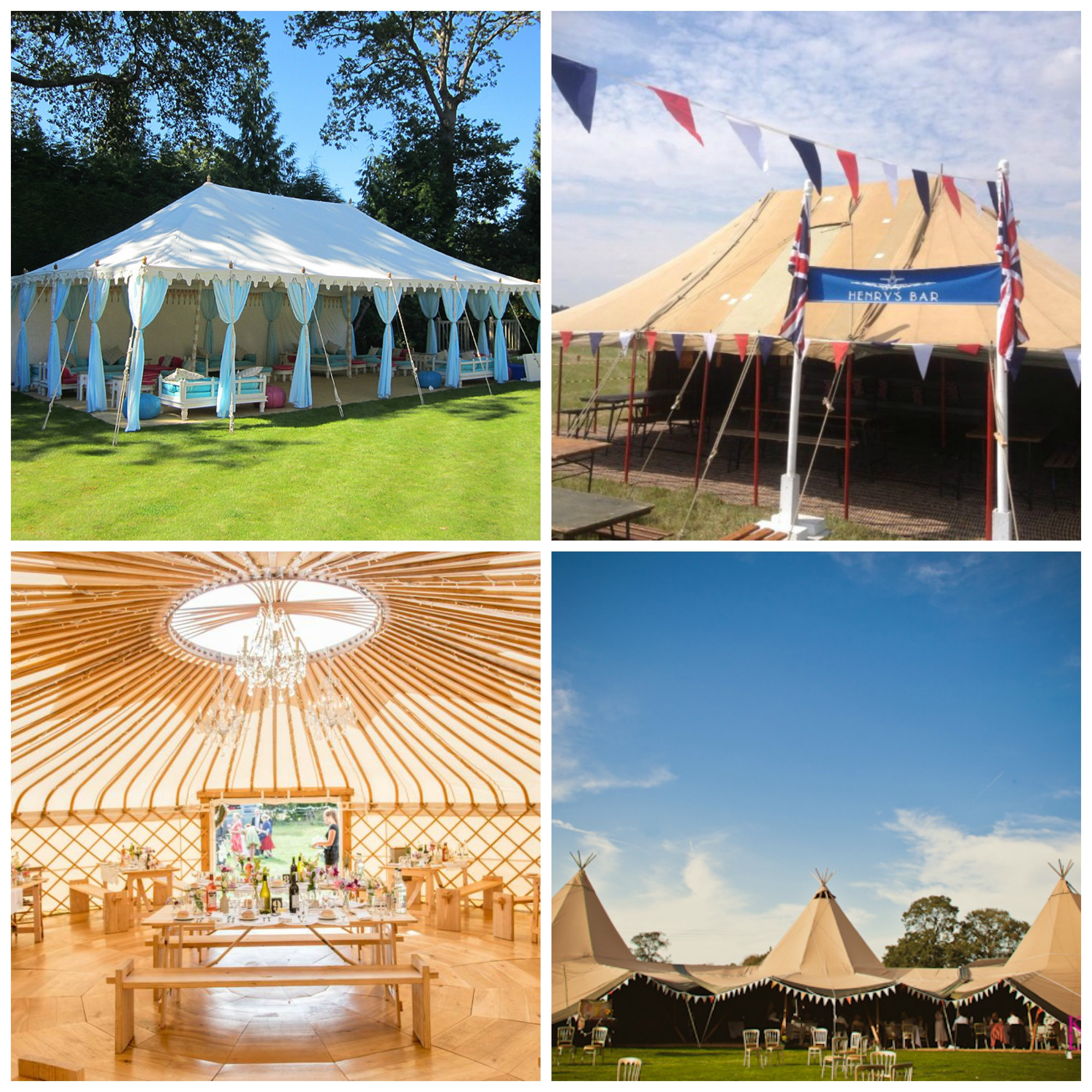 Clockwise from top left: Indian style Raj tent; vintage military tent; tipis; yurt