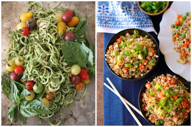 courgette noodles and cauliflower fried rice